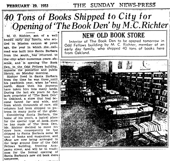 The Book Den opens in Santa Barbara, February 20, 1933